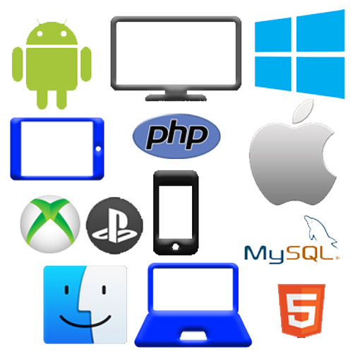 android, java, ios, windows, php, multi device, x-box, playstation, mysql